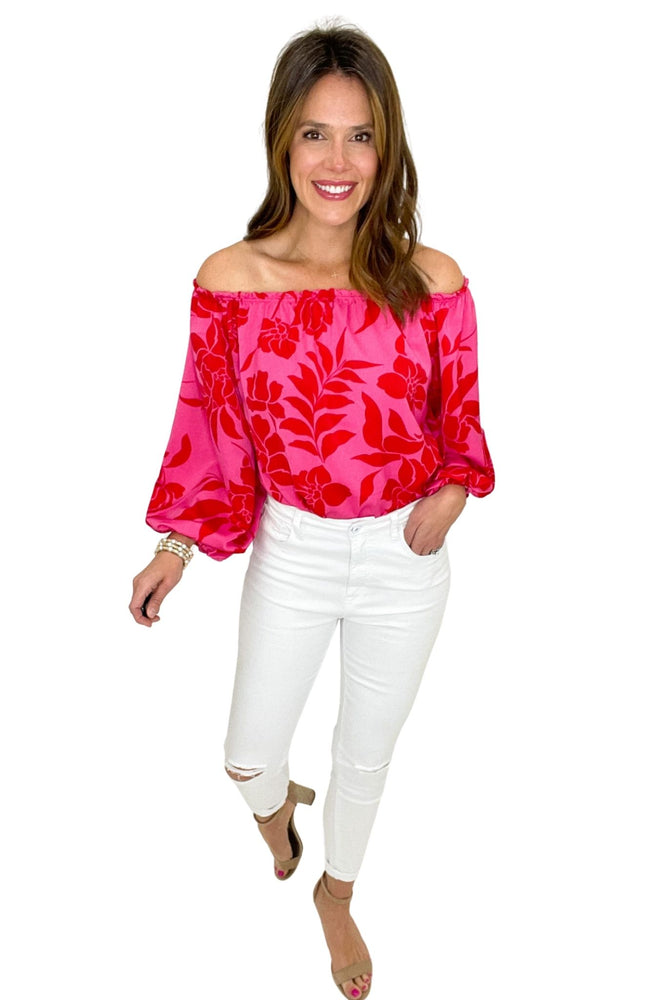 pink floral balloon sleeve bodysuit, white skinny jeans, spring tops, shop style your senses by mallory fitzsimmons