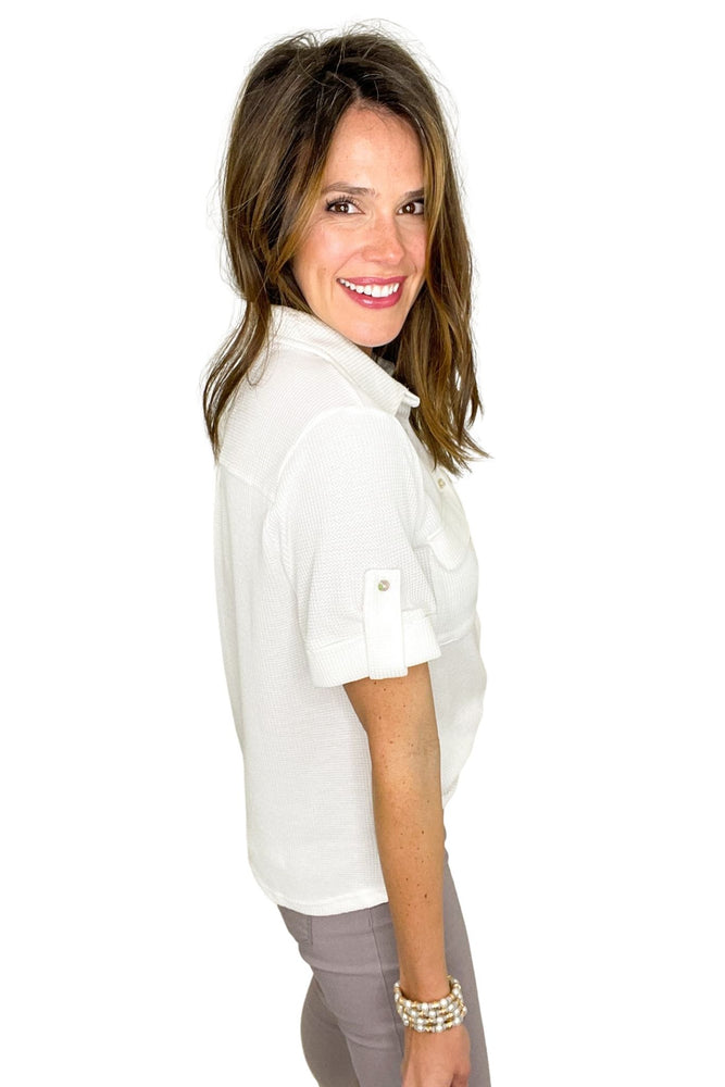 white mini waffle knit button down top, skinny jeans, spring tops, shop style your senses by mallory fitzsimmons