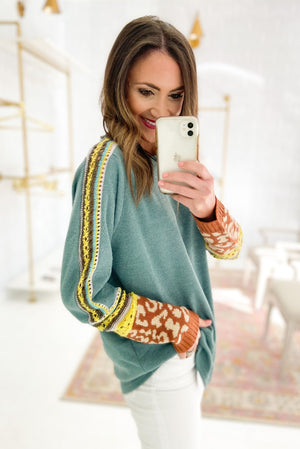 Sage Sweater w/ Crochet and Animal Print Sleeves