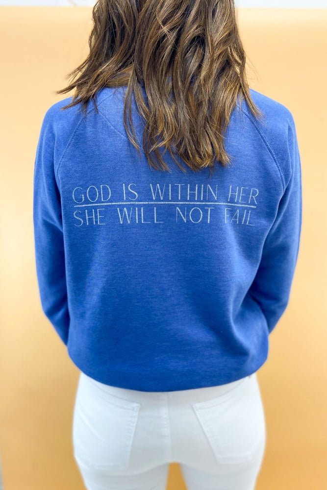 Psalm 46:5 Scripture Sweatshirt Royal, Women's Christian Clothing, Shop Style Your Senses by Mallory Fitzsimmons