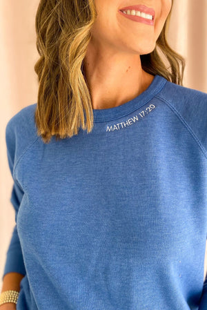 Matthew 17:20 Scripture Sweatshirt Royal (v2), Women's Christian Clothing, Shop Style Your Senses by Mallory Fitzsimmons