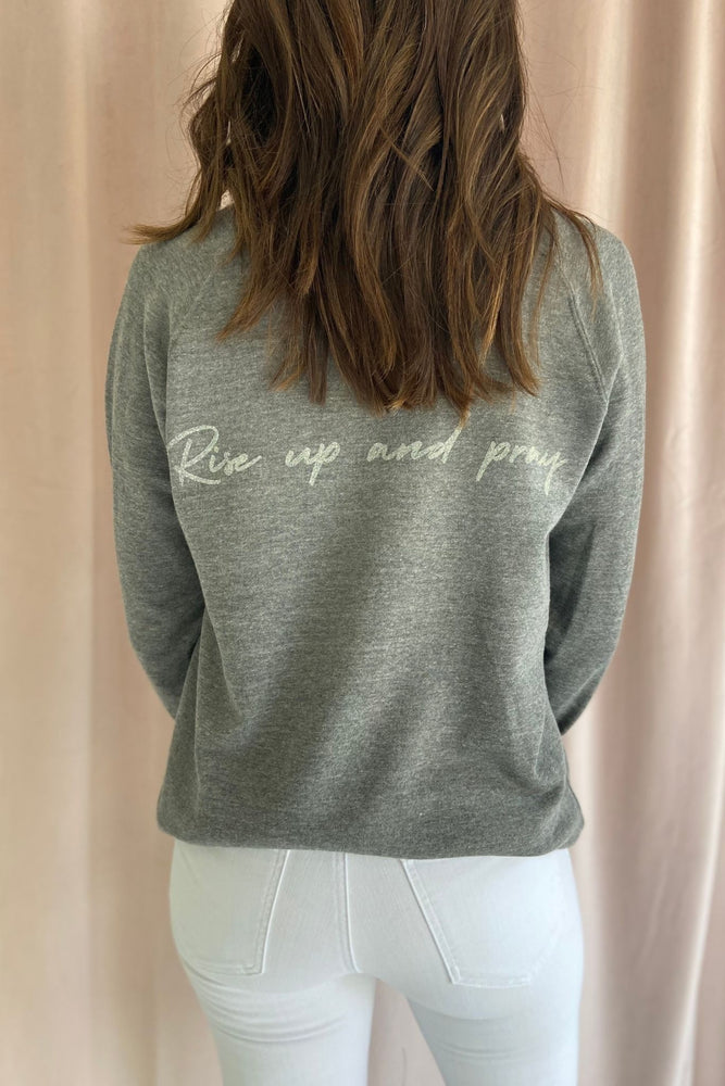 Luke 22:46 Scripture Sweatshirt Graphite, Women's Christian Clothing, Shop Style Your Senses by Mallory Fitzsimmons