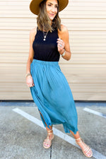 teal pleated maxi skirt, dreaming of spring, February collection, spring outfits, new arrivals, affordable style, shop style your senses by mallory fitzsimmons