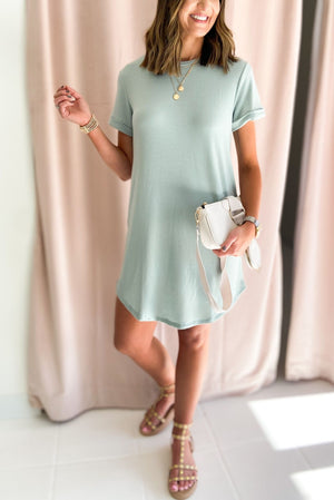 Load image into Gallery viewer, sage short sleeve casual dress, dreaming of spring, February collection, spring outfits, new arrivals, affordable style, shop style your senses by mallory fitzsimmons