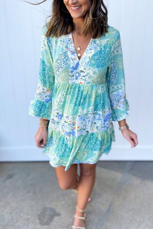 mint mixed floral tiered dress, dreaming of spring, February collection, spring outfits, new arrivals, affordable style, shop style your senses by mallory fitzsimmons