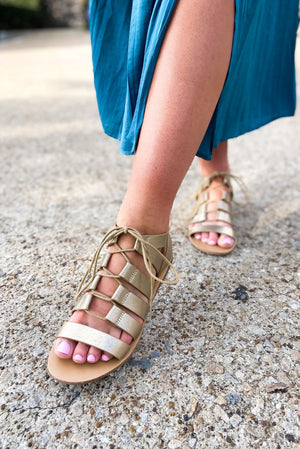 gladiator sandals, gold sandals, spring footwear, shop style your senses shoes