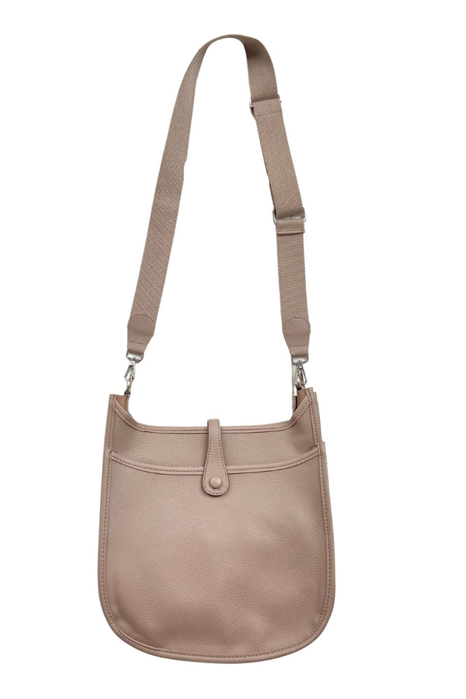 taupe crossbody bag with front pocket, everyday purse, mom on the go bag, affordable accessories, shop style your senses by mallory fitzsimmons