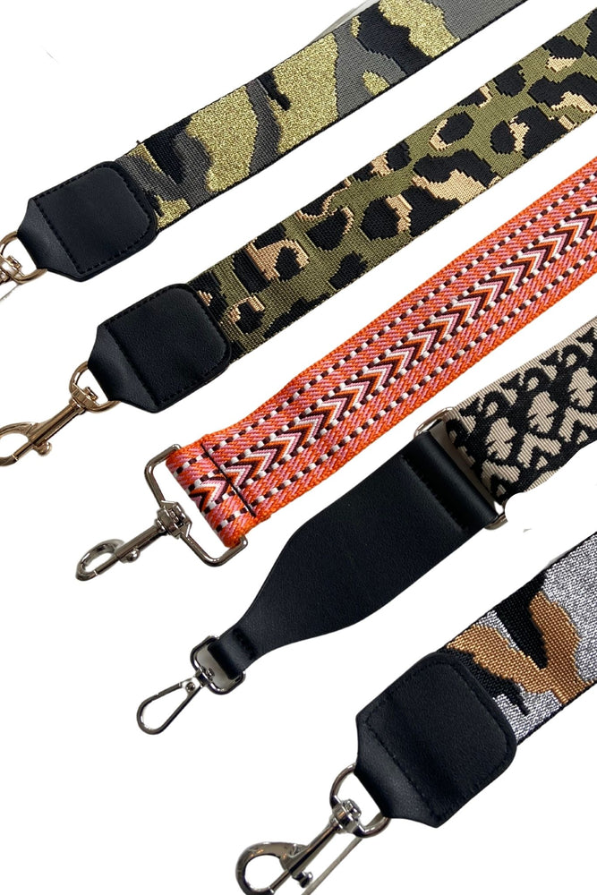 silver camo crossbody bag strap, metallic camo print, guitar purse strap, affordable accessories, shop style your senses by mallory fitzsimmons