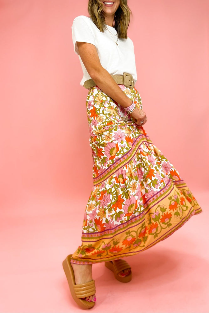 Floral Mixed Pattern Maxi Skirt