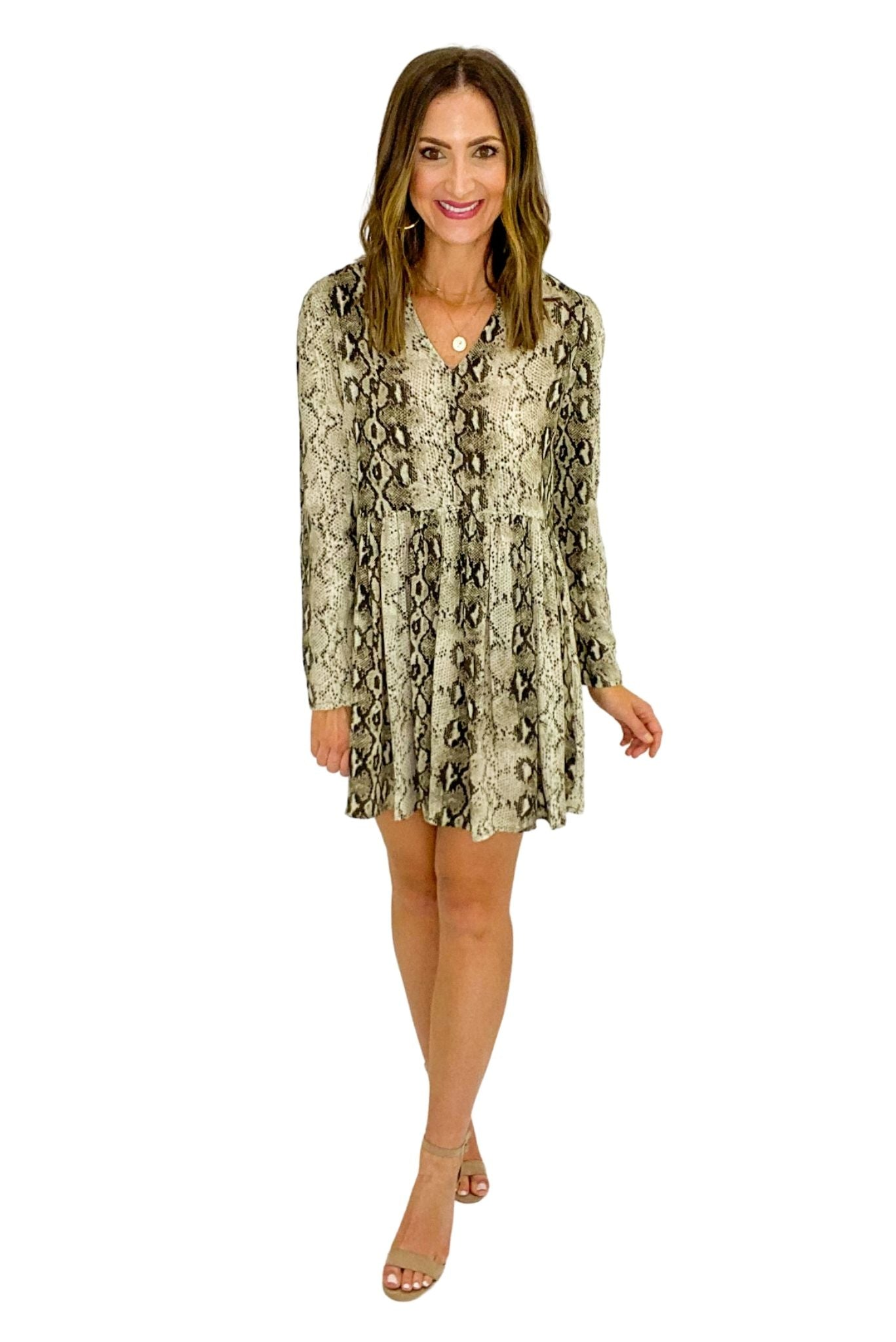 Scale Print V Neck Long Sleeve Dress