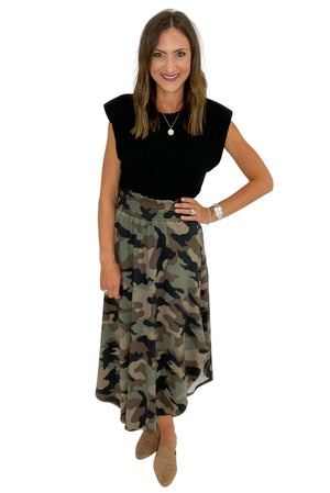 Smocked Camo Maxi Skirt *FINAL SALE*