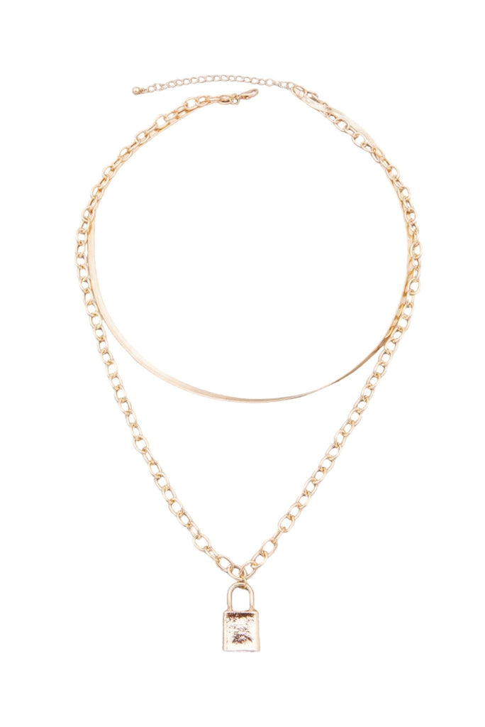 Gold Herringbone and Bold Chain Necklace w/ Lock Charm