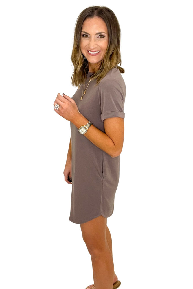 brown short sleeve casual dress, spring fashion, studded sandals, shop style your senses by mallory fitzsimmons