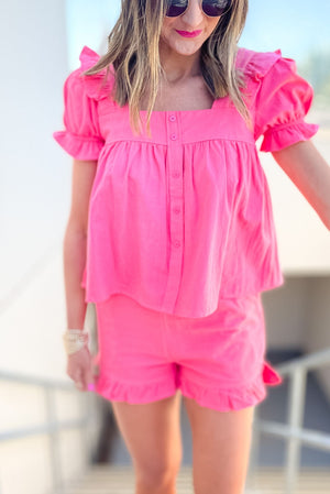 coral babydoll ruffle shorts and top set, spring break collections, fun in the sun, beach attire, shop style your senses by mallory fitzsimmons