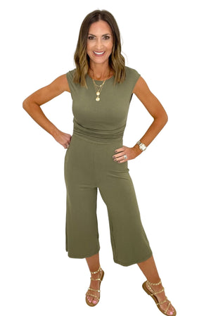 olive cap sleeve knit jumpsuit, spring fashion, studded sandals, shop style your senses by mallory fitzsimmons