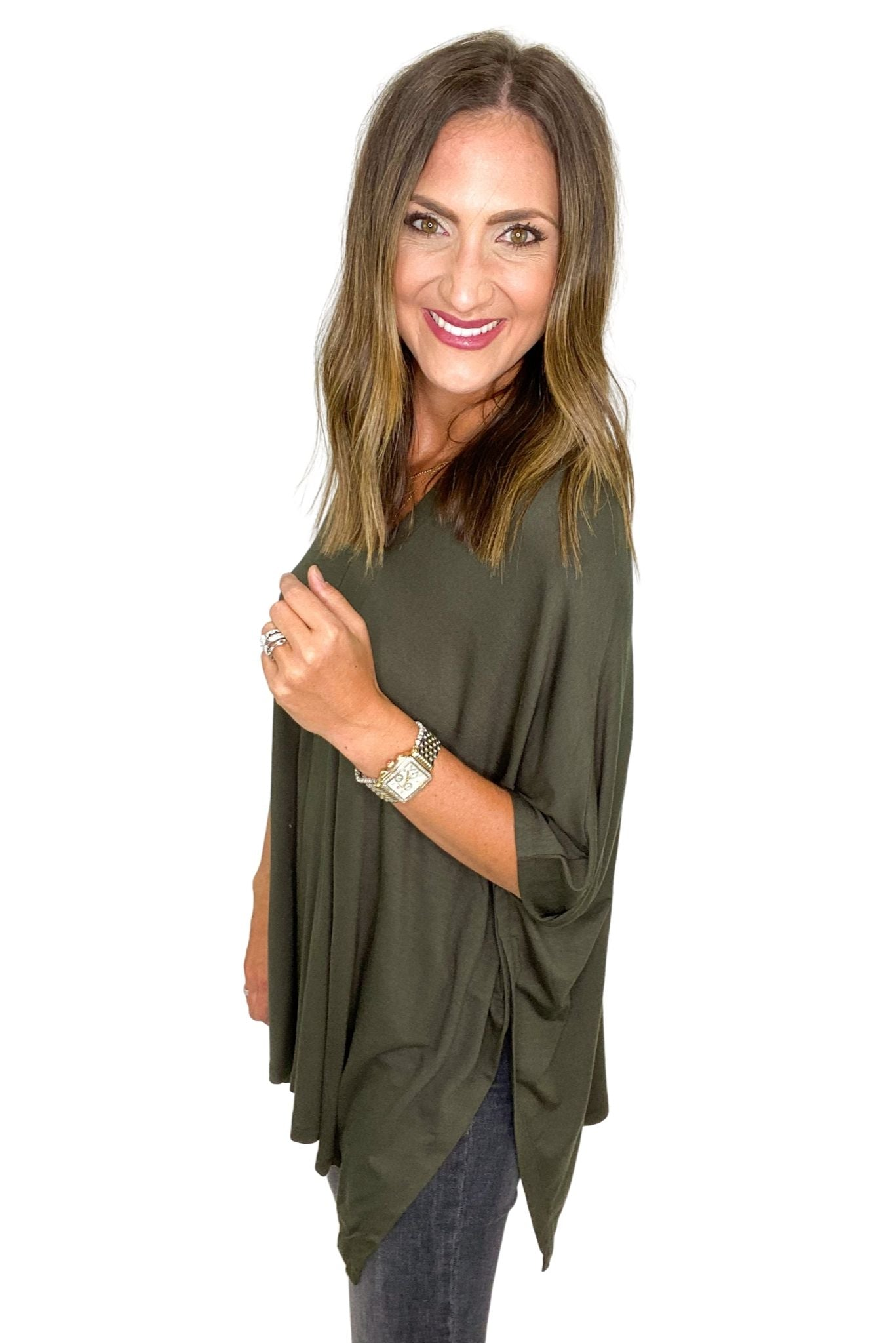 Dark Olive Oversized Lightweight Poncho