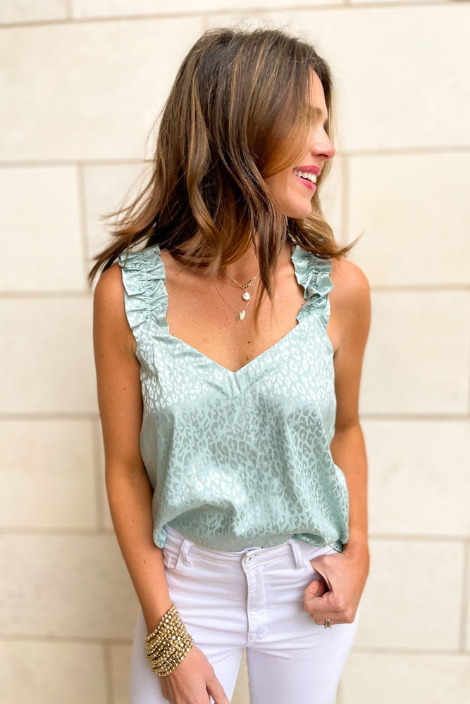 Seafoam Monochromatic Animal Print Tank w/ Ruffle Shoulder