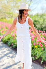 cream tank and midi skirt set, abloom collection, trendy outfits, spring inspiration, shop style your senses by mallory fitzsimmons