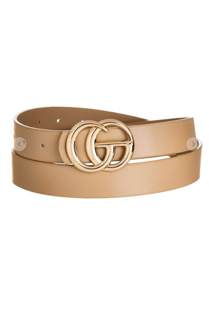 "Taupe gold ""G"" buckle belt"