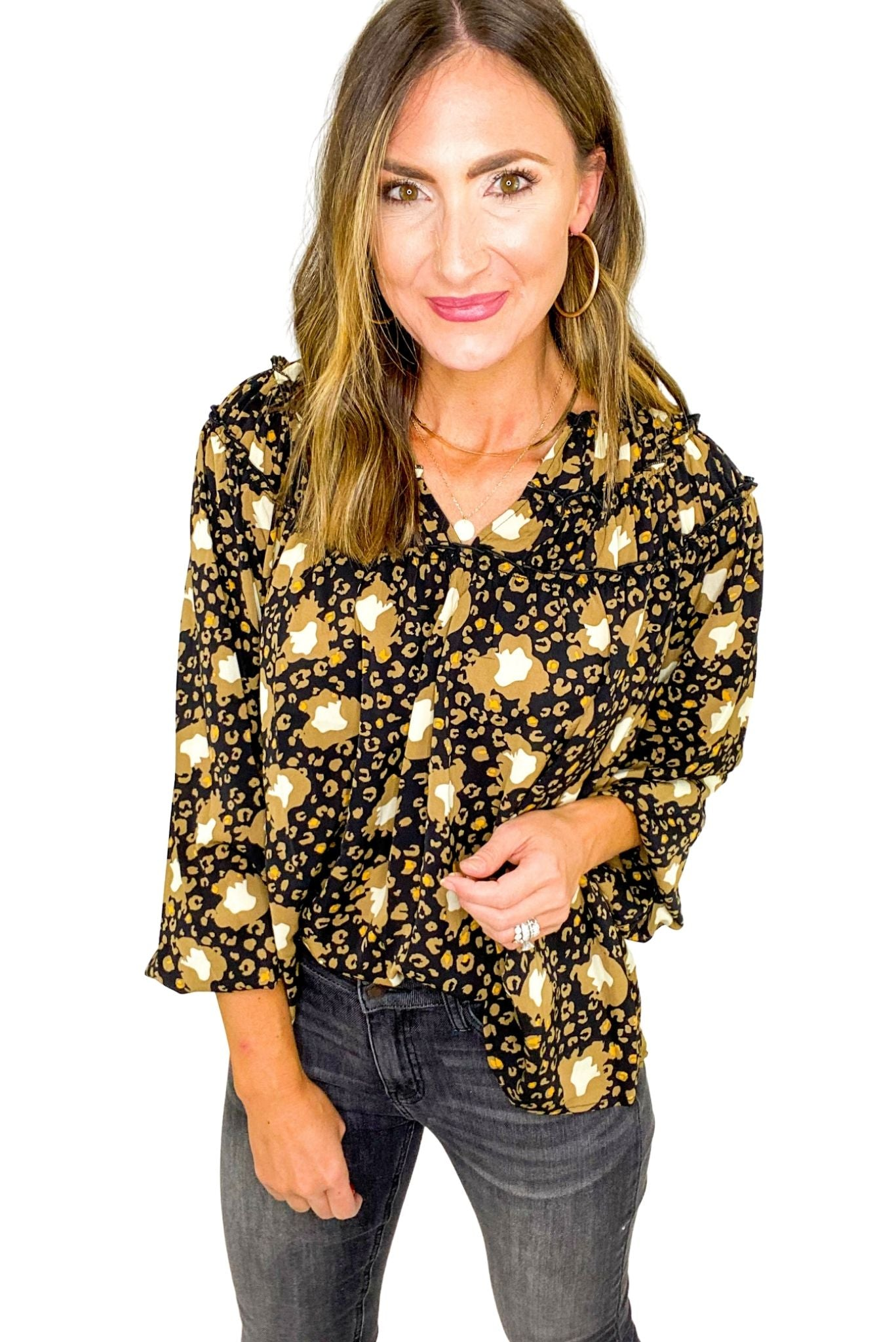 Updated Animal Print Top w/ Frill Detail