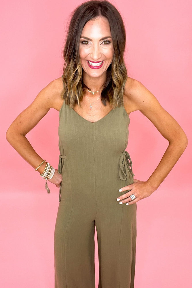 olive linen cross strap jumpsuit, spring outfit inspiration, trendy style, shop style your senses by mallory fitzsimmons