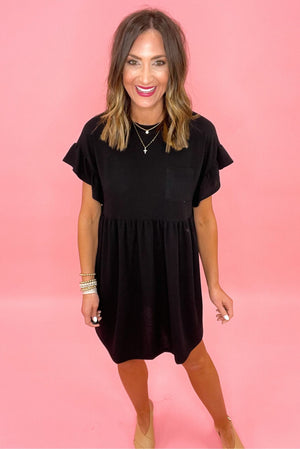 black ruffle sleeve babydoll dress, spring dresses, comfy style, shop style your senses by mallory fitzsimmons