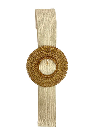 Load image into Gallery viewer, Ivory Ratan Belt w/ Circle Buckle