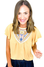 Mustard Embroidered Flutter Sleeve Top *FINAL SALE*