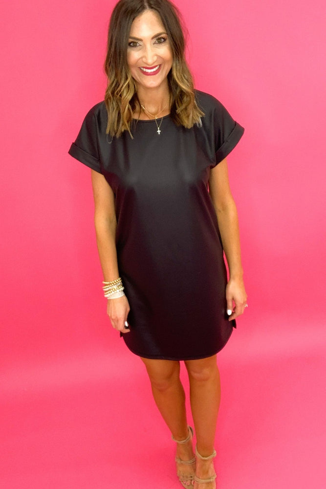 black faux leather short sleeve dress, date night, trendy outfits, online boutique, shop style your senses by mallory fitzsimmons