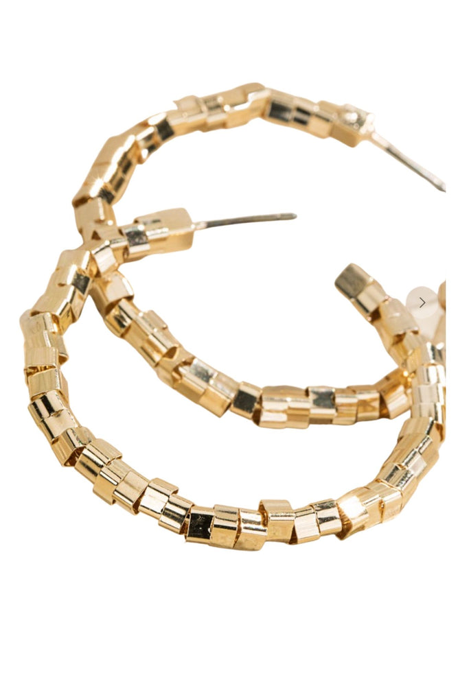 Gold Square Beaded Hoop Earrings