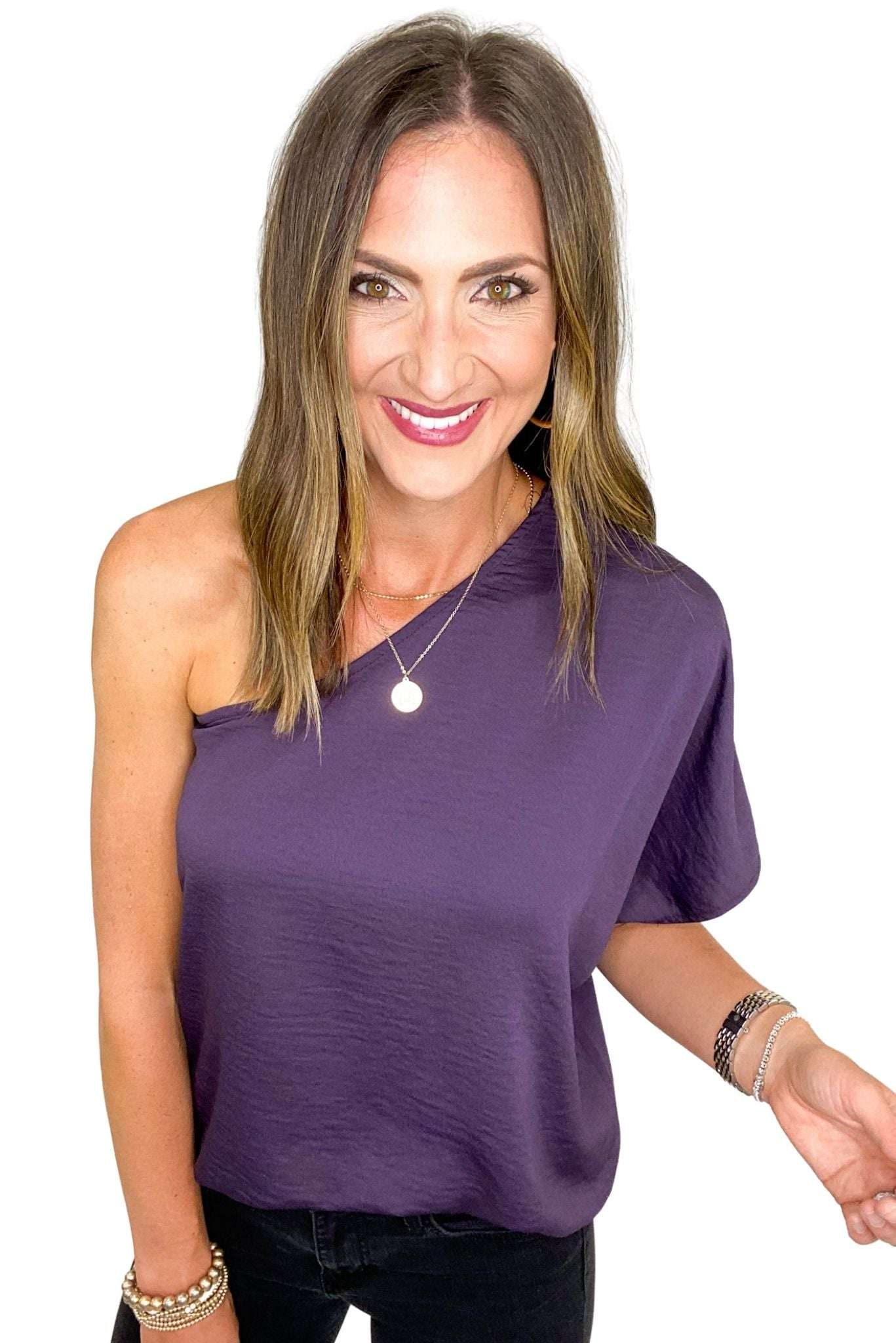 Grape Solid One Shoulder Top