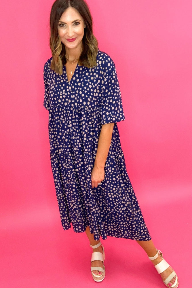 navy spotted v neck midi dress, spring dresses, mom style, online boutique, affordable fashion, shop style your senses by mallory fitzsimmons