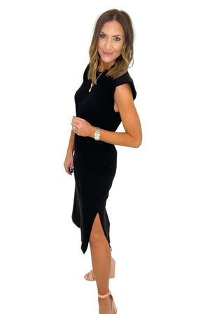 black shoulder pad dress with elastic waist, spring fashion, work to weekend, shop style your senses by mallory fitzsimmons