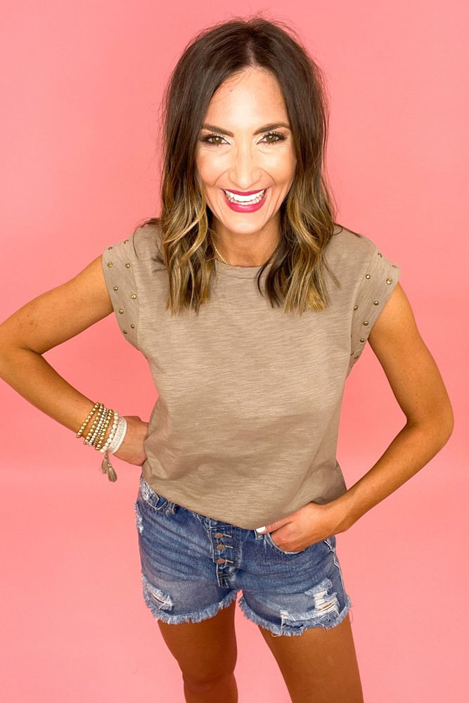 taupe studded cap sleeve top, distressed denim shorts, spring tops, elevated style, shop style your senses by mallory fitzsimmons