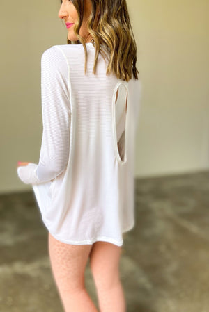 White Long Sleeve Ribbed Top w/ Cut Out Back