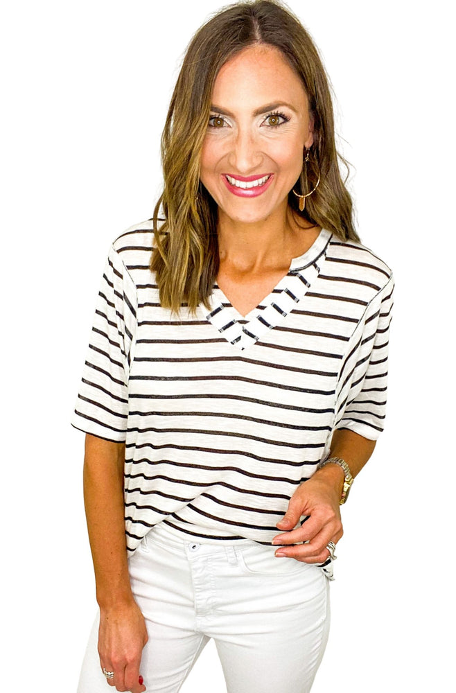 Load image into Gallery viewer, Oversized Black and White Stripe V Neck Top *FINAL SALE*