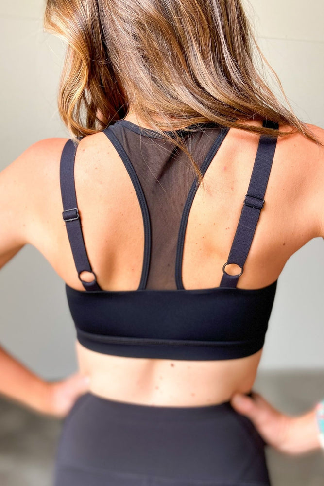 Load image into Gallery viewer, Black Sports Bra w/ Racerback Overlay