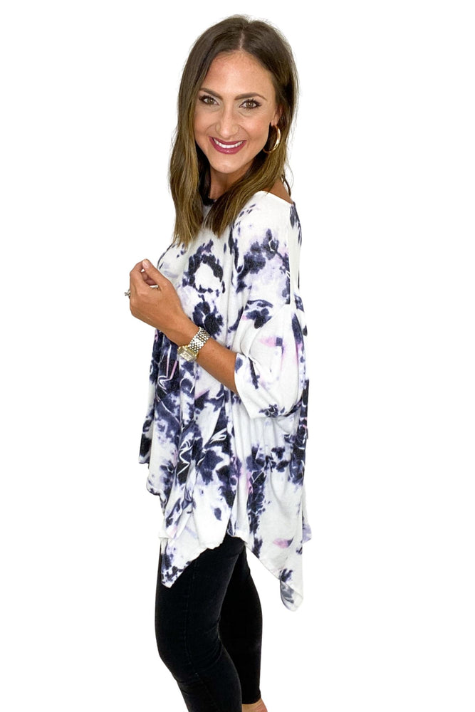 Load image into Gallery viewer, Eggplant Tie-Dye Poncho Top *FINAL SALE*