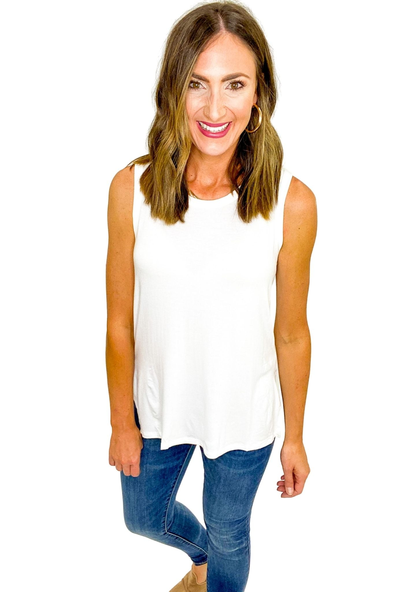 Ivory Sleeveless Side Slitted Knit Top