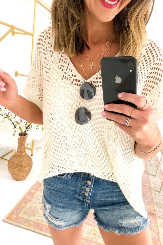 Load image into Gallery viewer, White Crochet V Neck Top