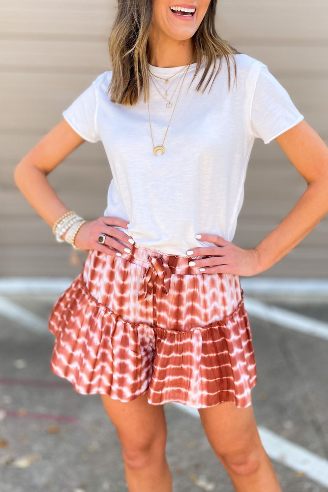 hazelnut tie dye elastic waist shorts, white basic tee, gold necklaces, mom style, shop style your senses by Mallory Fitzsimmons