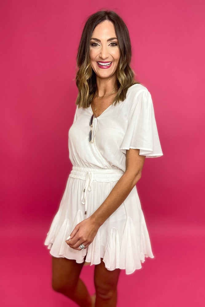 White crossover Romper w/ elastic waist, spring style, affordable outfits, shop style your senses by Mallory Fitzsimmons