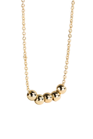 Dainty Gold Necklace w/ Five Ball Charms