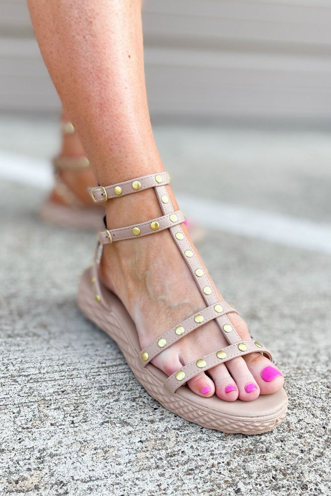 nude studded sandal w/ rubber sole, trendy sandals, spring shoes, summer shoes, shop style your senses by Mallory Fitzsimmons