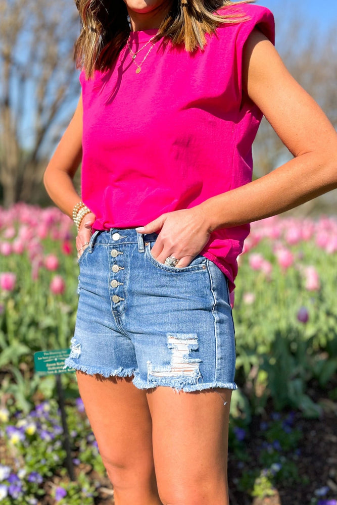 Medium Wash Exposed Button Fly Denim Shorts