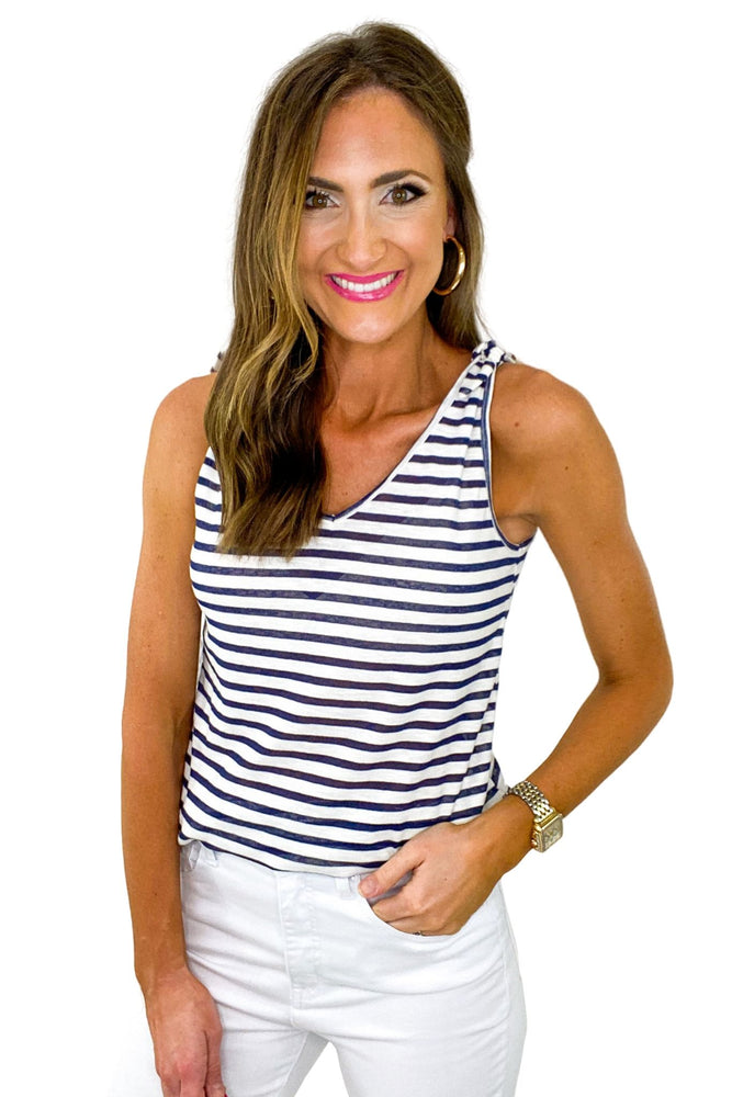 Navy and White Striped Tank w/ Tie Shoulders