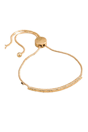 Gold Textured Bar Pull Bracelet