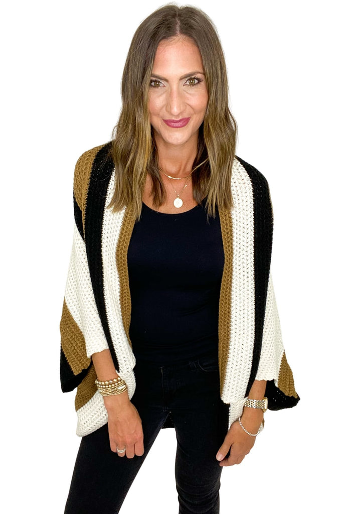 Neutral Color Block Batwing Poncho