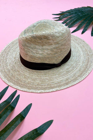 Load image into Gallery viewer, Straw Flat Brim Hat w/ Mocha Ribbon