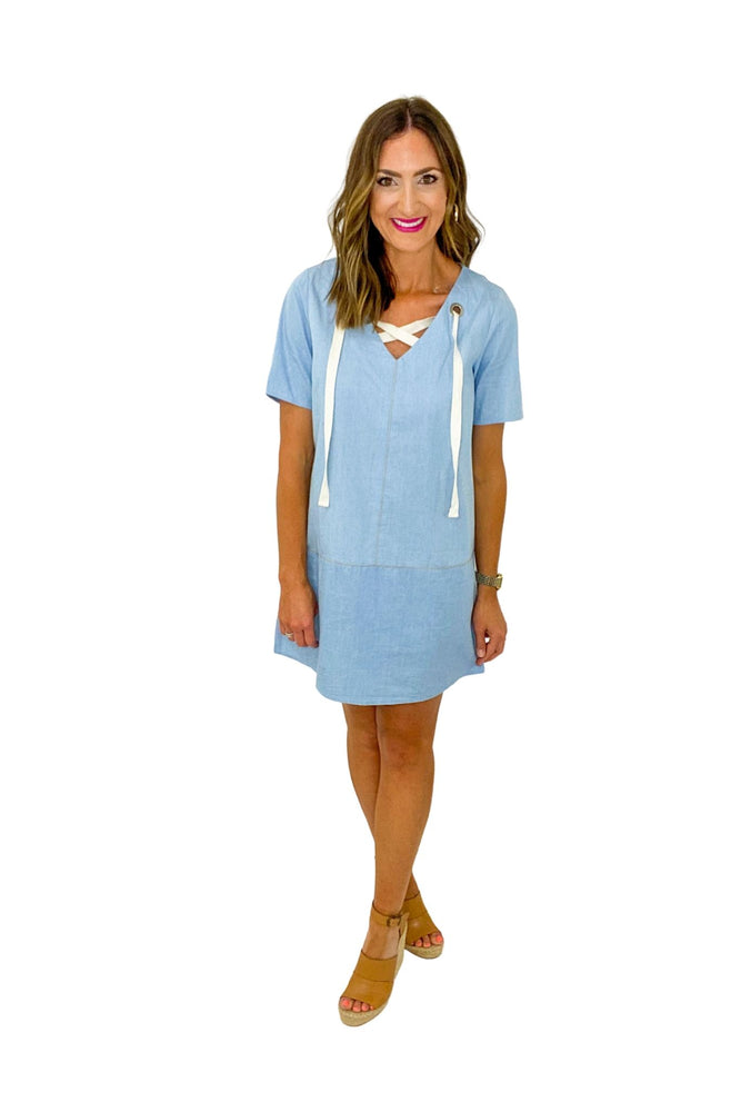 Short Sleeve Denim Dress w/ Lace Up Detail